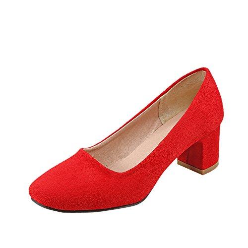 Pied De Charme Womens Office Dame Mi-talon Chaussures À Bout Carré Chaussures Rouge