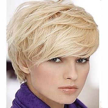 OOFAY JF® mujer rubia dama de color recta corta peluca de pelo sintético , blonde