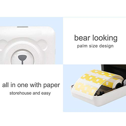 Softmusic Office Electronics Portable Cute Bear Wireless Bluetooth Thermal Paper Photo Pocket Label Printer White by Softmusic (Image #7)