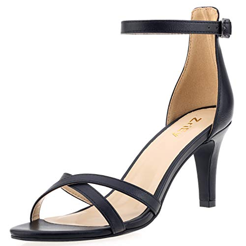 ZriEy Women Sexy Open Toe Ankle Straps Low Heel Sandals Wedding Party Shoes Black Size 8.5