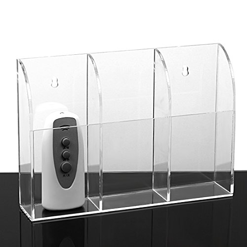 Ivosmart Wall Mount Acrylic TV Remote Control Mobile Phone Storage Holder Media Organizer Caddy