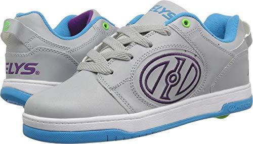 Heelys Girls' Voyager Tennis Shoe Grey Reflective/Cyan/Grape 13c Medium US Big Kid