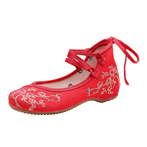 Toimothcn Embroidered Canvas Shoes Women Vintage Ankle Double Strap Ethnic Shoes (Red6,US:6)