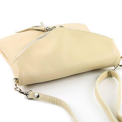 ital bolso de muchacha de bolsa cuero T139 T139 pequeña de embrague cuero embrague bandolera Elfenbein bolsa q1f4AE
