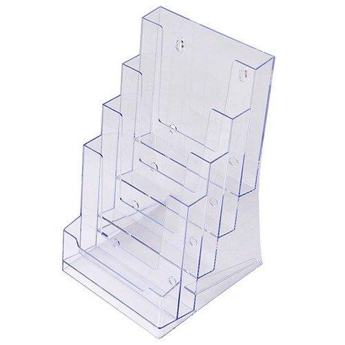 Prospekthalter DIN A5 vierstufig, Aufsteller Prospektständer Flyerhalter Acryl