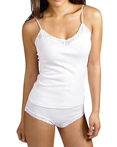 Gootuch Women Lace Trim Camisole and Panty Set (S-XL) (S, White)