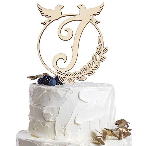 Diy Monogram Cake Topper - Monogram Letter J Personalized Name Wood Cake Topper Happy Birthday Wedding Bridal Shower Party Gift Decoration