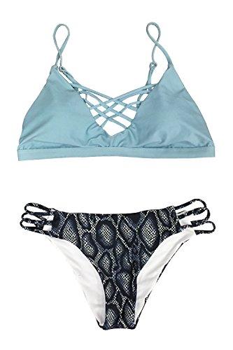 Cupshe Fashion Women's Sly Blue Lace Up Leopard Bottom Padding Bikini Set (M)