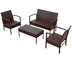 SKB Family 4 pcs Patio Rattan Wicker Furniture Set