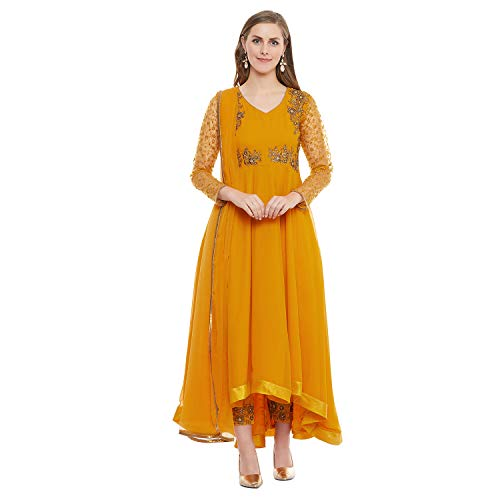 (PinkShink Women's Ready to Wear Yellow Georgette Indian/Pakistani Anarkali Salwar Kameez Dupatta)