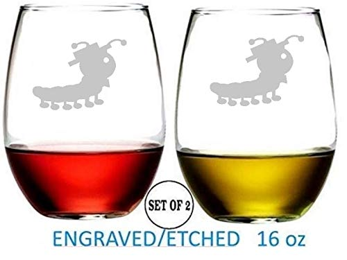 (Caterpillar Stemless Wine Glasses Etched Engraved Perfect Fun Handmade Gifts for Everyone Set of 2)