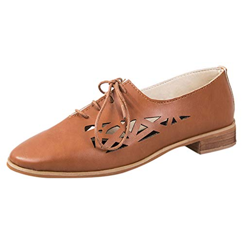 Nevera Shoes for Women,Woman Flat Lace-up Hollow up Pointed Toe Retro Oxfords Shoes Brown