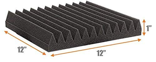 12 Pack - Easy Mount Adhesive-Backed Acoustic Sound Dampening Foam Panels 1'' x 12'' x 12'' by Baywater Products (Image #4)