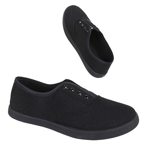 Ital-Design Damen Schuhe, AC-42, Freizeitschuhe Bequeme Slipper Schwarz