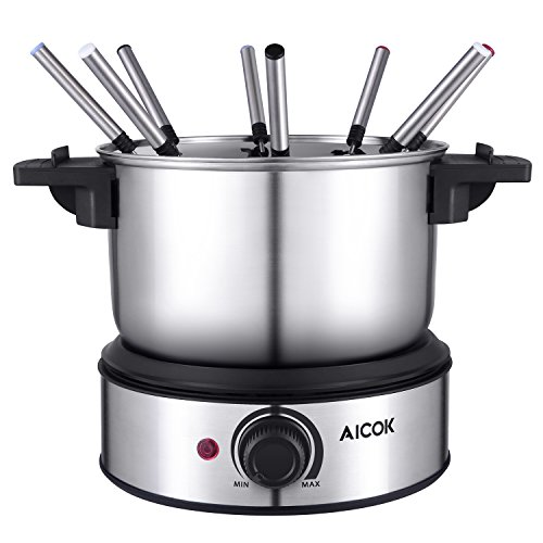 Fondue Pot Aicok Electric Fondue Set Stainless Steel Fondue Maker, Nonstick Melting Pot for Fondue Cheese and Fondue Chocolate, including Fork Holder and 8 Fondue Forks, 1.5-Quart, 1500W (Steel Fondue Set)