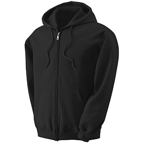 Zeratova Stylish Full Zip Up Hoodie For Men – Pullover Jacket With Long Sleeves, Fleece Lining & Pockets – Zippered Sweatshirt For Sports & Casual Outfits (Black, XXL)