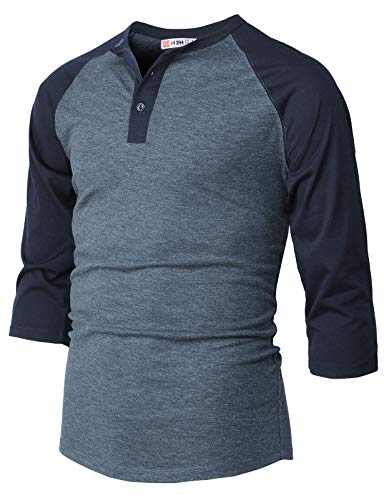 H2H Men Casual Slim Fit Henley T-Shirt Raglan 3/4 Sleeve Spandex Blended T-Shirt HEATHERBLUE US M/Asia L (CMTTS232)