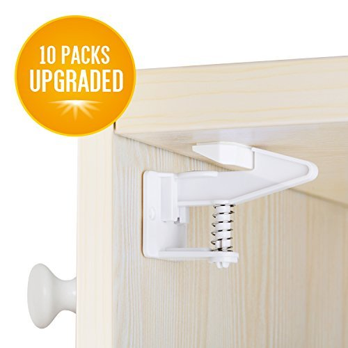 Cabinet Locks, Baby Proofing Child Safety Cabinets Locks 10 Packs, Easy Installing Safety Drawer Locks -No Need Tools Drilling Measuring for Drawers, Cabinets, Closets by snoogg (Image #1)