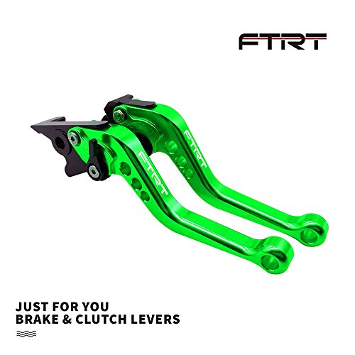 FTRT Short Brake Clutch Levers for Kawasaki ZX6R/636 2007-2017,ZX10R 2006-2015, Z1000 2007-2016,Z1000SX/NINJA 1000/Tourer 2011-2016 Z750R 2011-2012, Green ()