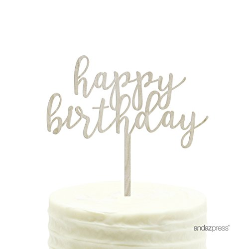 Andaz Press Birthday Wood Cake Toppers, Happy Birthday, 1-Pack, Decor Decorations