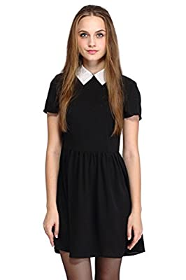 POGT Women's Casual Short Sleeve Doll Collar Dress Halloween Costumes Dress