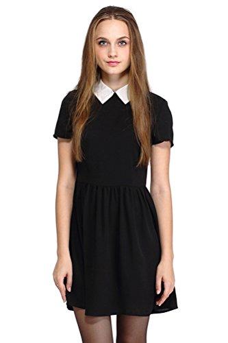 POGT Women's Casual Short Sleeve Doll Collar Dress Summer Short Dress Petite (XL, Black)