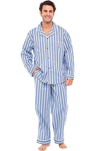Alexander Del Rossa Men's Lightweight Button Down Pajama Set, Long Cotton Pjs, 3XL Dark Blue and White Striped (A0714P193X) (Up Set Christmas Table)