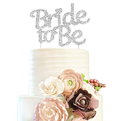 Bride To Be Silver Rhinestone Cake Topper Future Mrs Wedding Bridal Shower Party Decoration.