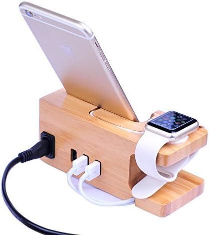 AICase Estación de Carga USB de Madera de bambú, Cargador de Escritorio, 3 Puertos USB 3.0 Hub, para iPhone 7/7Plus/6S/6/Plus/5s y Apple Watch de 38 mm/42 mm,Samsung y la mayoría de los Smartphones