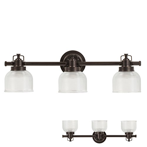 Oil Rubbed Bronze Vanity Light 3 Bulb Bath Wall Fixture Clear Double Prismatic Glass Globes (Glass Three Light Bath)
