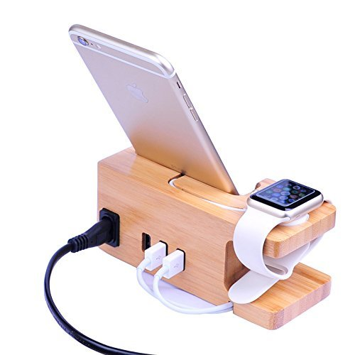AICase Estacion de Carga USB de Madera de bambu, Cargador de Escritorio, 3 Puertos USB 3.0 Hub, para iPhone 7/7Plus/6S/6/Plus/5s y Apple Watch de 38 mm/42 mm,Samsung y la mayoria de los Smartphones