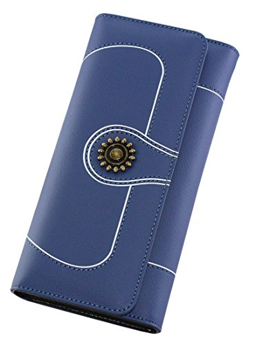 Genuine Leather Clearance Sale Cards Large Space Wallet for Women by OLEWELL-12 Cards Slots-1 Zipper Pocket-Blue by OLEWELL