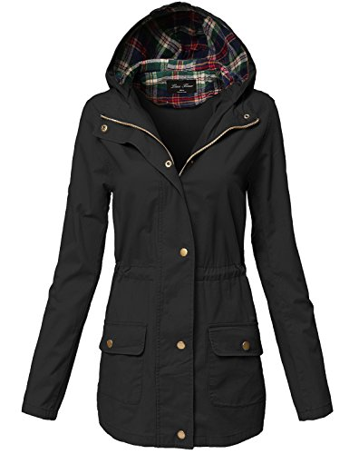 Warm Comfortable Plaid Hooded Waist Drawstring Utility Jackets,126-black,Large