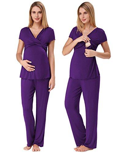 Maternity Pajamas for Women Plus Size Comfy Sleepwear Set Purple 2XL ZE45-6