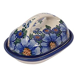 Traditional Polish Pottery, Handcrafted Ceramic Butter Dish with Lid, Boleslawiec Style Pattern, B.201.PASSION