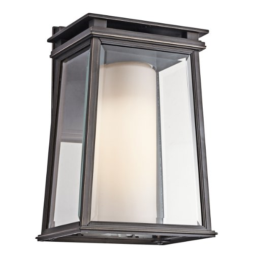 Classic Bronze Outdoor Bracket - Kichler 49401RZ Lindstrom 1-Light Exterior Wall Mount, Rubbed Bronze Finish with Clear Beveled and Satin Etched Glass