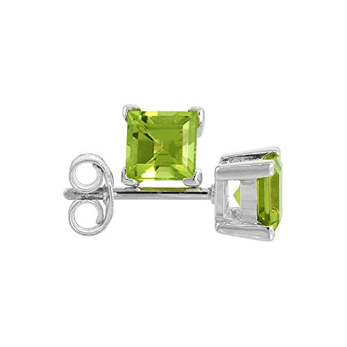 Square Princess Cut Natural (August Birthstone, Natural Peridot 3/4 Carat (5 mm) Size Princess Cut Square Stud Earrings in Sterling Silver Basket Setting)
