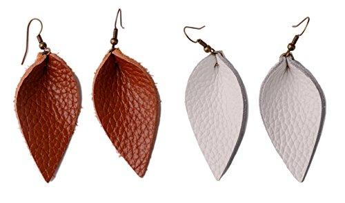 (L&N Rainbery 2 Pairs Petal Leather Earrings Faux Leather Teardrop Earrings Leaf Drop Earrings (Genuine)