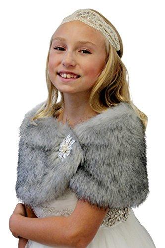 Faux Fur Wedding Wrap Flower Girl Grey Chinchilla Size Large by Tion Bridal