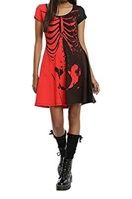 Pink Queen Women's Halloween Costumes Shift Skull Printed Dress