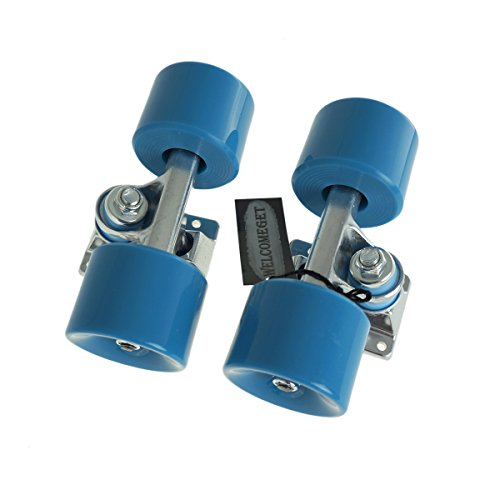 PU Skateboard Wheels For Standard Board 85A With Truck and Bearing (Light Blue)