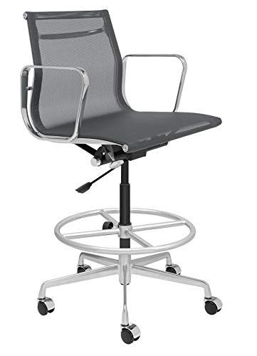 Drafting Office Chair Grey Loop - SOHO Premier Mesh Drafting Chair - Aluminum, Commercial Grade Draft Height for Standing Desks (Dark Grey)