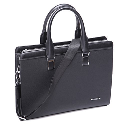 Leathario Erwachsene Ledertasche Leder Umhängetasche Aktentasche Laptoptasche Arbeitstasche Businesstasche Messenger Bag, Schwarz