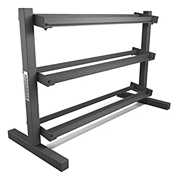 Image of Dumbbell Racks Synergee 3 Tier Dumbbell Rack - Perfect for 5-50 lb Dumbbell Sets. Organizes Free Weights - Perfect for Home, Garage, and Commercial Gyms - Clean & Professional Equipment Storage