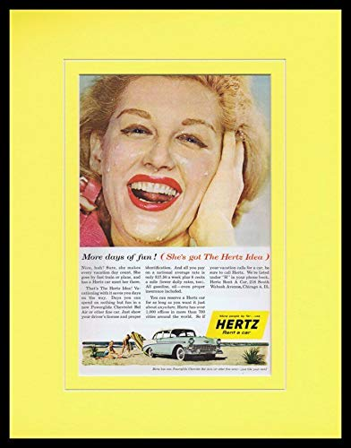 - 1959 Hertz Rent a Car/Hertz Idea Framed 11x14 ORIGINAL Vintage Advertisement