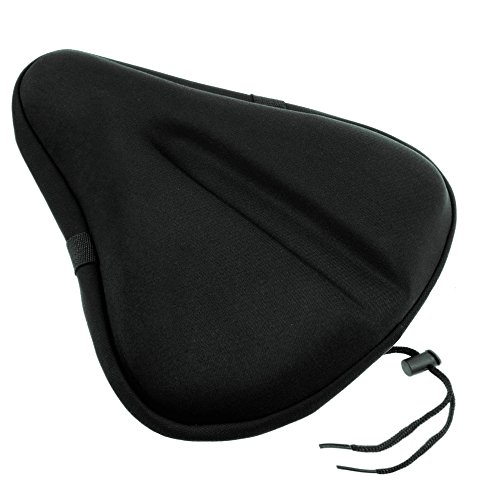 iGoods Gel Bike Seat Cushion Cover for Men and Women, UPDATED Soft Wide Bike Bicycle Saddle Cushion Pad fits for Big size Cruiser Stationary Seat,Outdoor Indoor Spinning Cycling Accessory