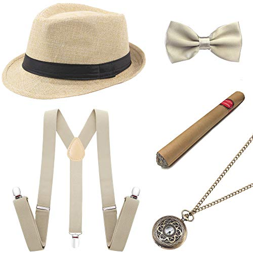 Gangster Halloween Costume Accessories (BABEYOND 1920s Mens Gatsby Costume Accessories Set 30s Panama Hat Elastic Y-Back Suspender Pre Tied Bow Tie Pocket Watch and Plastic Cigar (Beige)