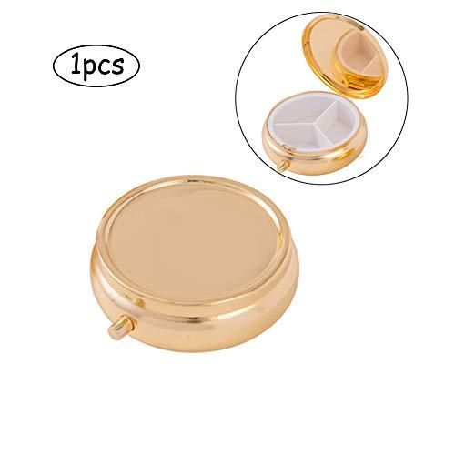 Deksias Decorative Pill Box Organizer 3 Compartments Round Metal Medicine Case for Pocket Purse Travel(Silver & Gold) (1Pcs, Big Gold)