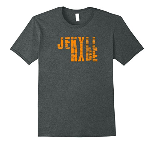 Doctor Jekyll And Mr Hyde Costume (Mens Dr. Jekyll Mr. Hyde Cool Graphic Text Design Tshirt Medium Dark Heather)