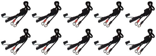 (Ten (10) Battery Tender 081-0069-6 Ring Terminal Harness with Black Fused 2-Pin Quick Disconnect Plug)